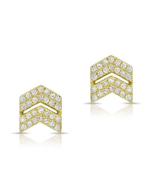 Anne Sisteron - Metallic 14kt Yellow Gold Diamond Double Maverick Chevron Diamond Stud Earrings - Lyst