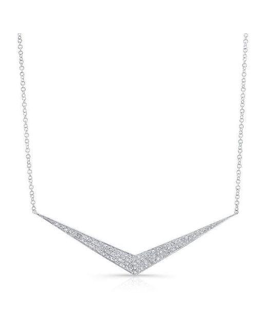Anne Sisteron - Metallic 14kt White Gold Diamond Chevron Necklace - Lyst