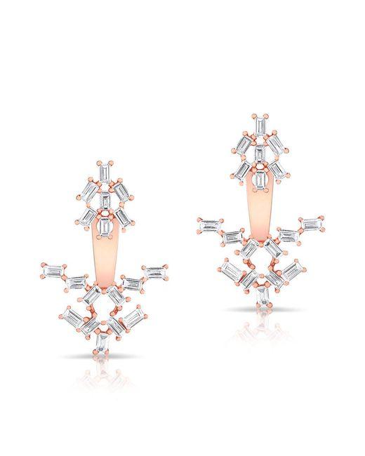 Anne Sisteron | Metallic 14kt Rose Gold Baguette Diamond Anastasia Floating Earrings | Lyst