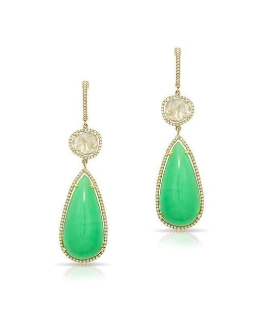 Anne Sisteron   Green 14kt Yellow Gold Chrysoprase And Diamond Slice Drop Earrings   Lyst