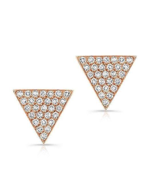 Anne Sisteron | Metallic 14kt Rose Gold Diamond Large Triangle Emma Stud Earrings | Lyst