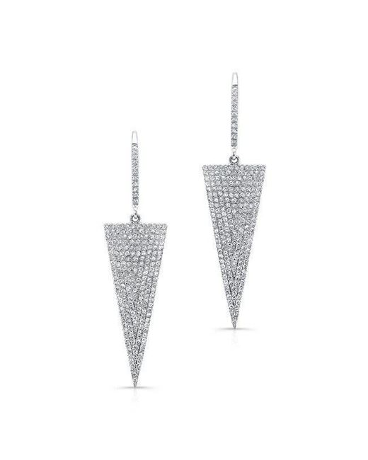 Anne Sisteron - Metallic 14kt White Gold Diamond Triangle Drop Earrings - Lyst