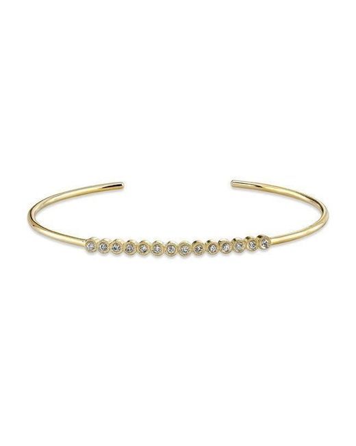 Anne Sisteron | Metallic 14kt Yellow Gold Bezel Set Diamond Cuff | Lyst