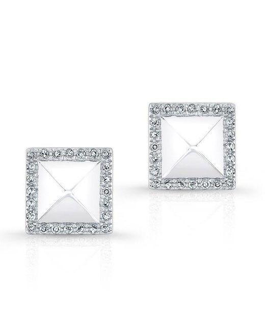 Anne Sisteron - Metallic 14kt White Gold Diamond Edged Pyramid Stud Earrings - Lyst