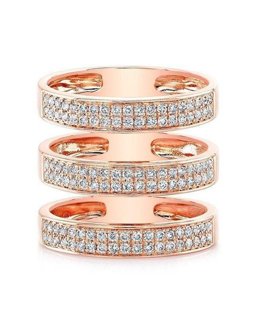 Anne Sisteron - Multicolor 14kt Rose Gold Diamond Large Triple Bar Ring - Lyst