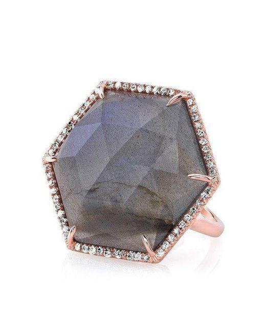 Anne Sisteron - Multicolor 14kt Rose Gold Labradorite Diamond Hexagon Cocktail Ring - Lyst