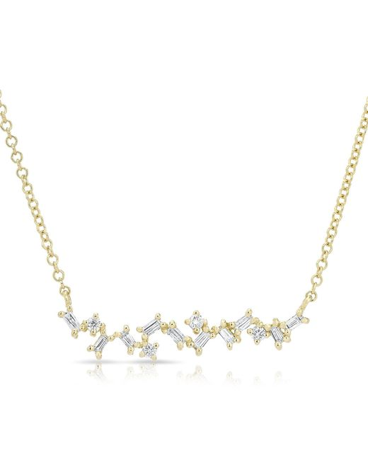 Anne Sisteron - Metallic 14kt Yellow Gold Diamond Jagged Bar Necklace - Lyst
