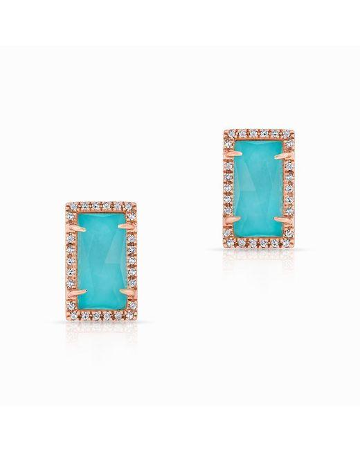 Anne Sisteron - Blue 14kt Rose Gold Diamond Turquoise Sara Stud Earrings - Lyst