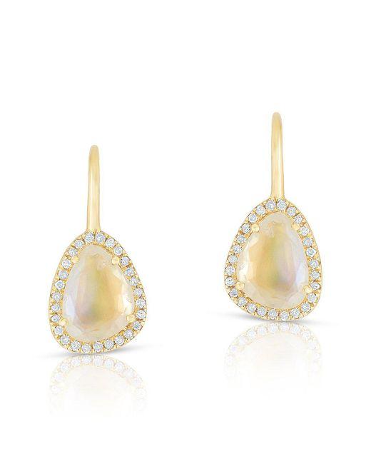 Anne Sisteron | Metallic 14kt Yellow Gold Diamond Moonstone Organic Wireback Earrings | Lyst