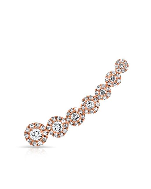 Anne Sisteron | Metallic 14kt Rose Gold Diamond Round Malia Ear Climber | Lyst