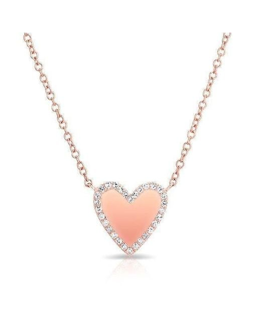 Anne Sisteron - Metallic 14kt Rose Gold Diamond Trimmed Heart Necklace - Lyst