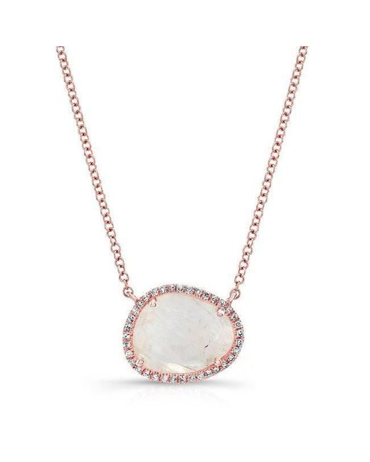 Anne Sisteron - Multicolor 14kt Rose Gold Moonstone Diamond Necklace - Lyst