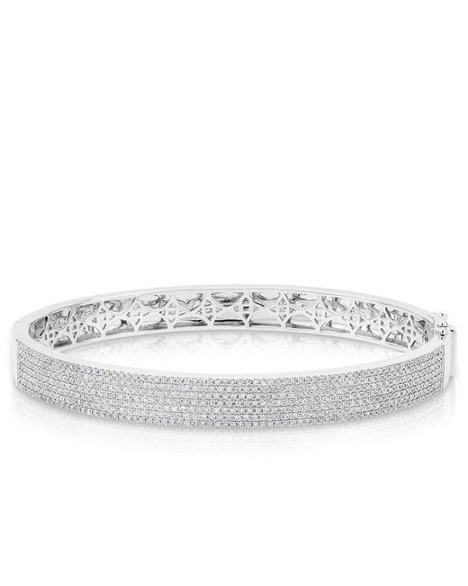 Anne Sisteron | Metallic 14kt White Gold Diamond Belle Half Pave Bangle | Lyst