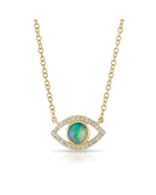 Anne Sisteron - Metallic 14kt Yellow Gold Diamond Open Opal Evil Eye Sukie Necklace - Lyst
