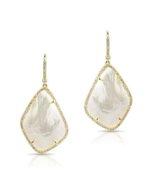 Anne Sisteron - White 14kt Yellow Gold Mother Of Pearl Organic Diamond Earrings - Lyst