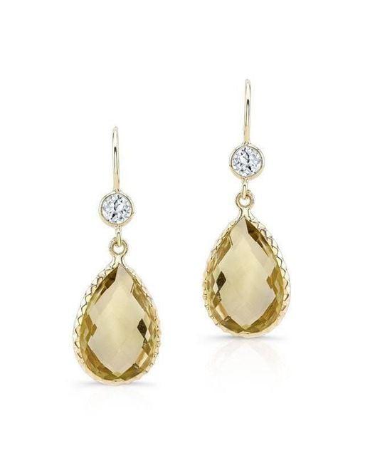 Anne Sisteron - Metallic 14kt Yellow Gold Scalloped Lemon Topaz Pear Earrings - Lyst