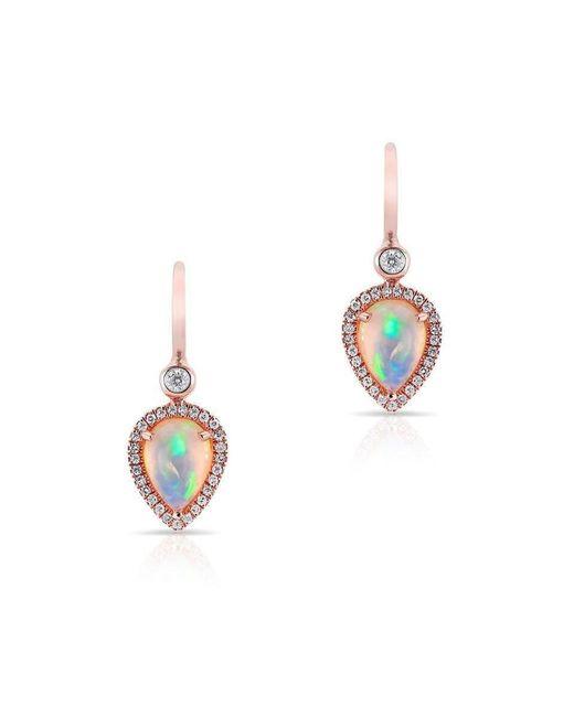Anne Sisteron - Metallic 14kt Rose Gold Opal Diamond Pear Drop Earrings - Lyst