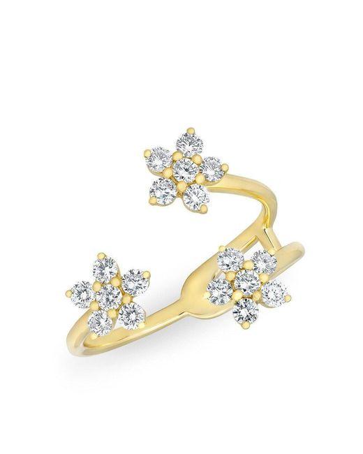 Anne Sisteron - Metallic 14kt Yellow Gold Diamond Triple Mini Flower Ring - Lyst
