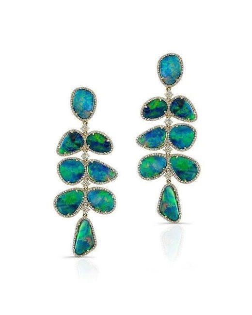 Anne Sisteron - Blue 14kt Yellow Gold Opal Diamond Drop Earrings - Lyst