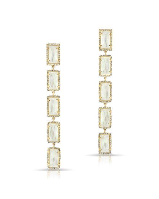 Anne Sisteron - Metallic 14kt Yellow Gold Mother Of Pearl Diamond Five Rectangle Drops Shandi Earrings - Lyst