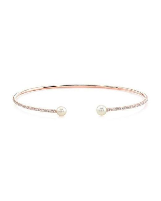 Anne Sisteron | Metallic 14kt Rose Gold Diamond And Pearl Cuff | Lyst