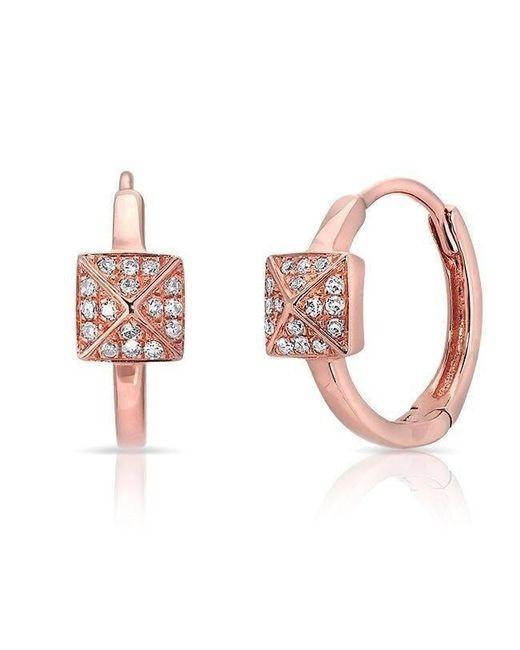 Anne Sisteron - Pink 14kt Rose Gold Diamond Pyramid Huggie Earrings - Lyst