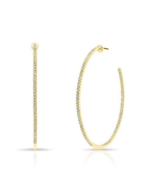 """Anne Sisteron - Metallic 14kt Yellow Gold Diamond 1.5"""" Hoop Earrings - Lyst"""
