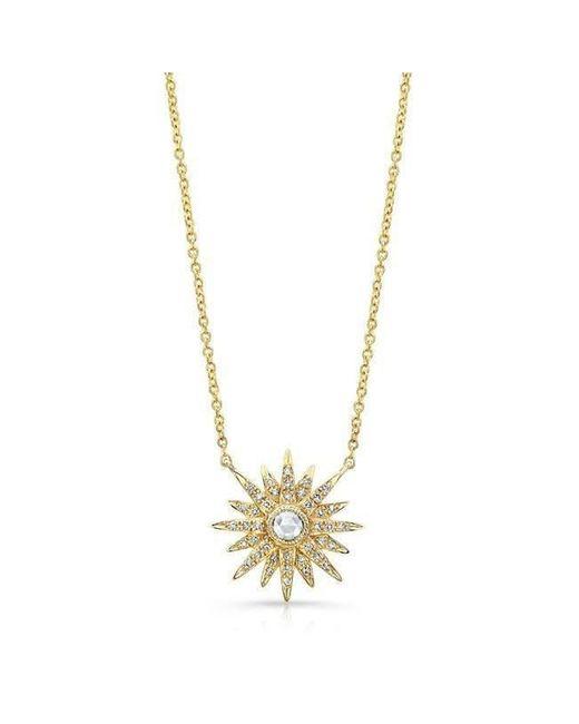 Anne Sisteron - Metallic 14kt Yellow Gold Diamond Vintage Style Starburst Necklace - Lyst