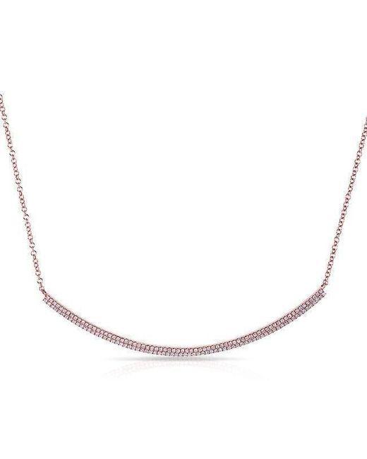 Anne Sisteron | Metallic 14kt Rose Gold Diamond Double Sleek Crescent Necklace | Lyst