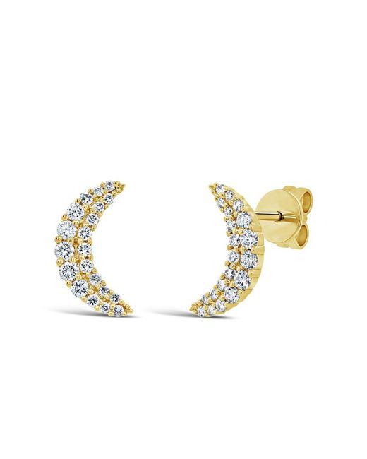 Anne Sisteron - Metallic 14kt Yellow Gold Diamond Crescent Moon Stud Earrings - Lyst