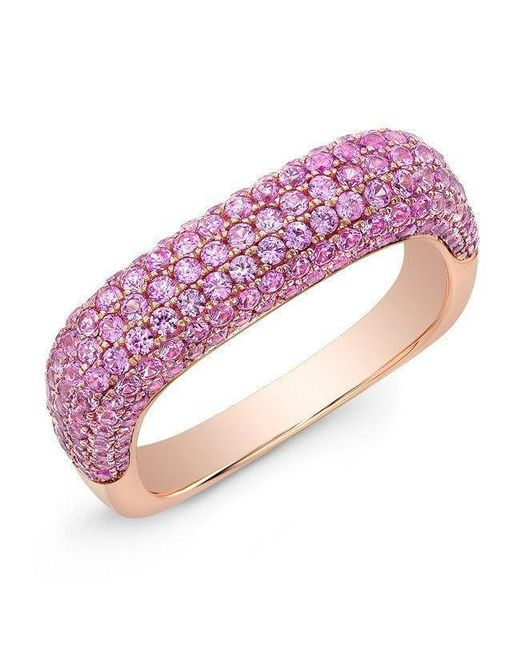 Anne Sisteron | 14kt Rose Gold Pink Sapphire Square Ring | Lyst