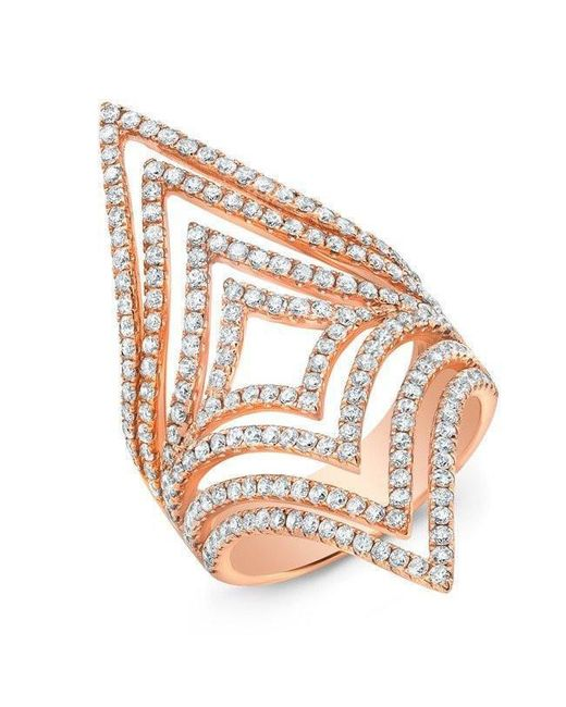 Anne Sisteron - Multicolor 14kt Rose Gold Diamond Chevron Cutout Ring - Lyst