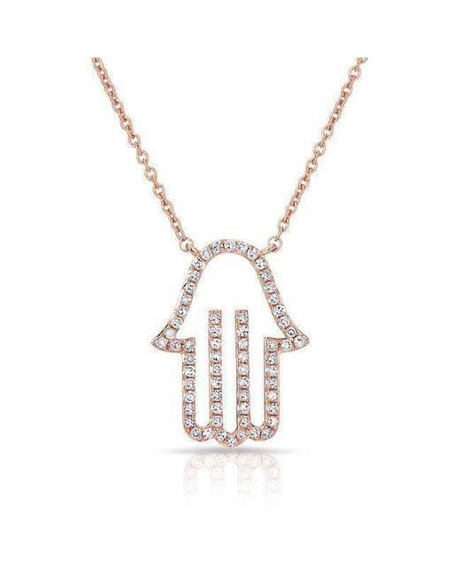Anne Sisteron | Metallic 14kt Rose Gold Diamond Hamsa Necklace | Lyst