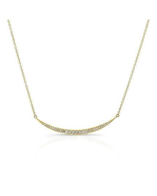 Anne Sisteron | Metallic 14kt Yellow Gold Diamond Mini Lunette Necklace | Lyst
