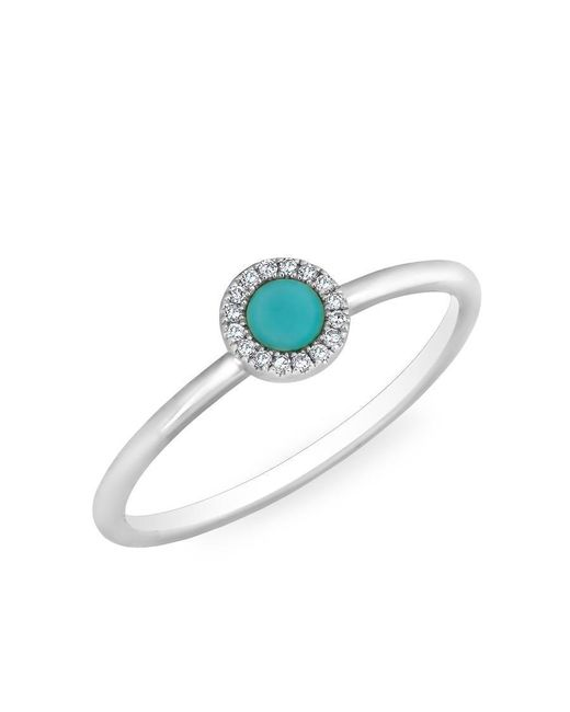 Anne Sisteron - Multicolor 14kt White Gold Diamond Turquoise Round Disc Ring - Lyst