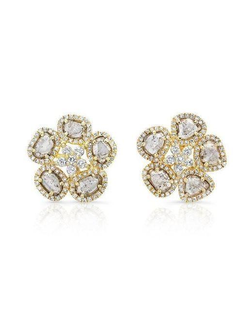 Anne Sisteron - Metallic 14kt Yellow Gold Diamond Slice Mae Flower Earrings - Lyst