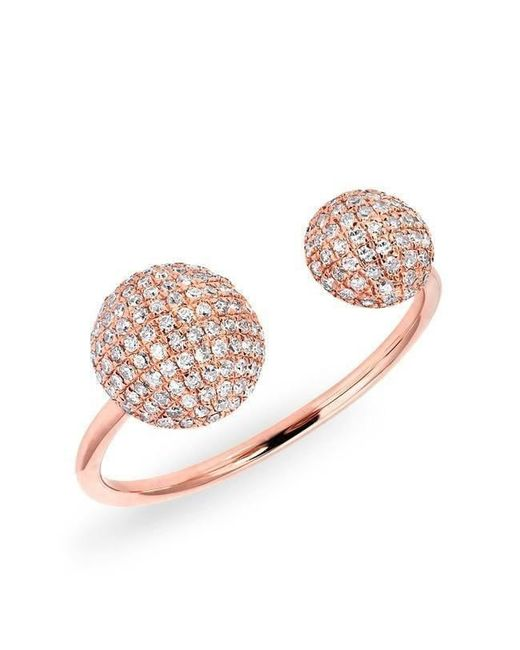 Anne Sisteron - Pink 14kt Rose Gold Diamond Double Bouton Ring - Lyst