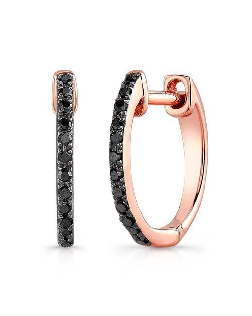Anne Sisteron - Multicolor 14kt Oxidized Rose Gold Black Diamond Zoe Huggie Earrings - Lyst