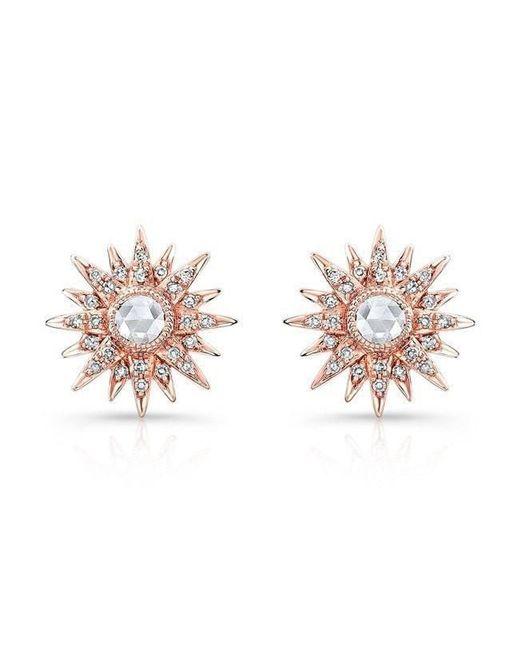 Anne Sisteron - Multicolor 14kt Rose Gold Diamond Vintage Style Starburst Stud Earrings - Lyst