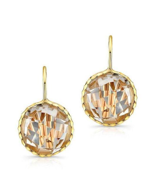 Anne Sisteron - Metallic 14kt Yellow Gold White Topaz Round Earrings - Lyst