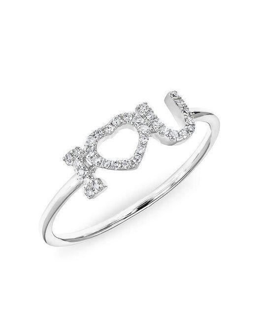Anne Sisteron - Metallic 14kt White Gold Diamond I - Heart - U Ring - Lyst