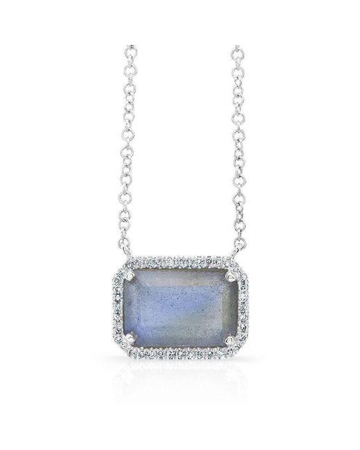 Anne Sisteron - Multicolor 14kt Yellow Gold Rectangle Labradorite Diamond Necklace - Lyst