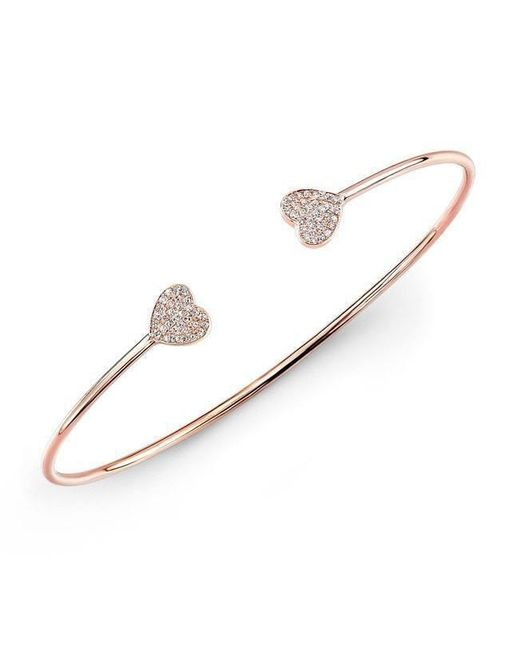 Anne Sisteron - Metallic 14kt Rose Gold Diamond Large Heart Cuff - Lyst