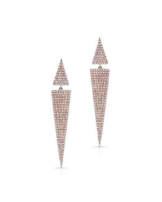Anne Sisteron - Multicolor 14kt Rose Gold Diamond Double Triangle Earrings - Lyst
