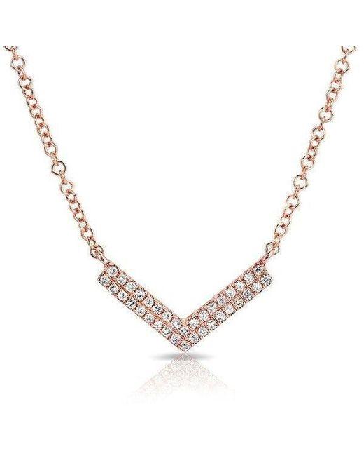 Anne Sisteron - Metallic 14kt Rose Gold Diamond Mini Chevron Necklace - Lyst