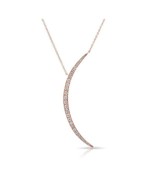 Anne Sisteron - Metallic 14kt Rose Gold Diamond Lullaby Moon Necklace - Lyst