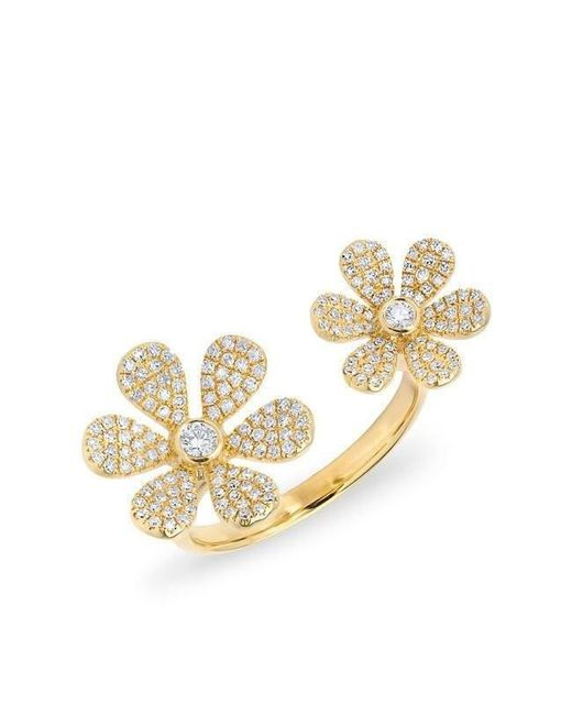 Anne Sisteron - Metallic 14kt Yellow Gold Diamond Floating Double Daisy Flower Ring - Lyst
