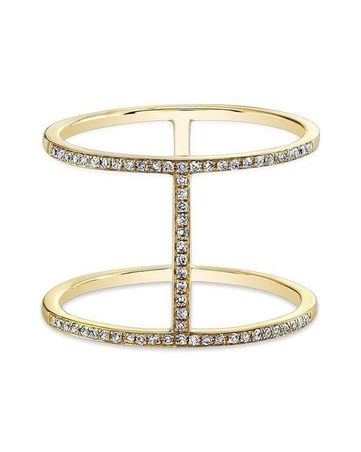 Anne Sisteron - Metallic 14kt Yellow Gold Diamond H Trois Ring - Lyst