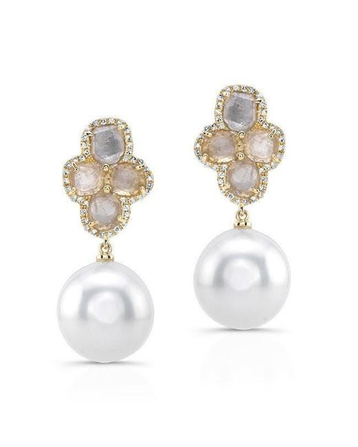 Anne Sisteron - Metallic 14kt Yellow Gold Diamond Slice Grey Pearl Earrings - Lyst