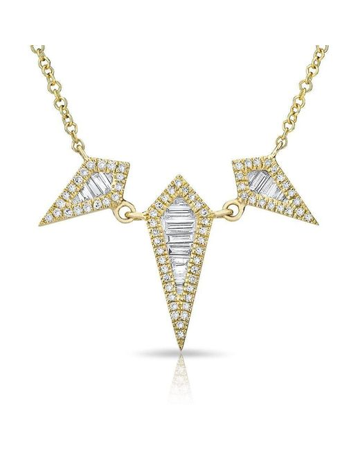 Anne Sisteron - Metallic 14kt Yellow Gold Baguette Diamond Triple Spear Necklace - Lyst